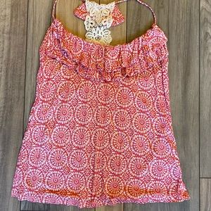 Printed tank top with lace